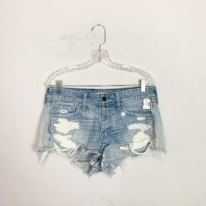 Abercrombie hi rise distressed denim shorts 28